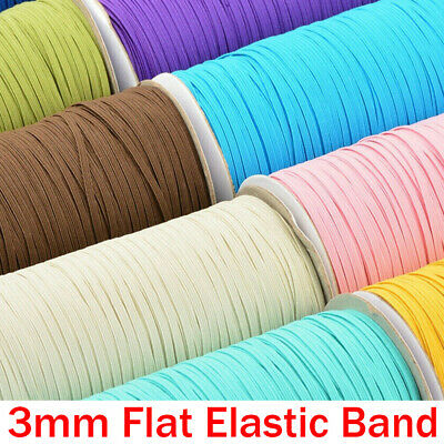 3mm Flat Elastic Band Stretch Cord Costume Clothing DIY Sewing Materials Rope
