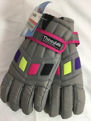 Vintage Women Gloves 80's - 90's Thinsulate Grey With Neon Accents.  Size M