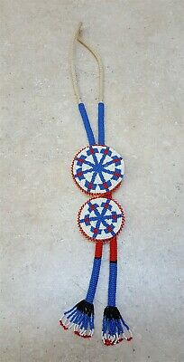 Nice Hand Crafted 2 Beaded Star Design Rosettes Native American Indian Bolo Tie