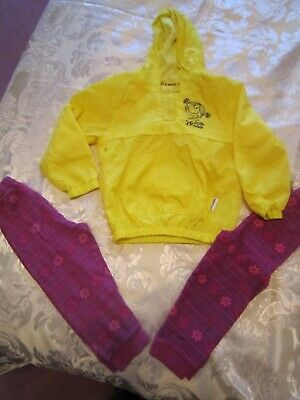 VGC Girl Yellow Hooded Raincoat Legging Mac Jacket Summer Little Miss 2-3 Years