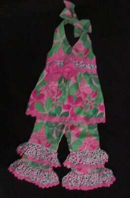 Mud Pie Petite Petals Collection Bubble Shorts Summer Outfit Set Pink Floral New