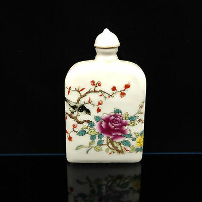 Chinese Exquisite Handmade Flowers & birds pattern porcelain snuff bottle