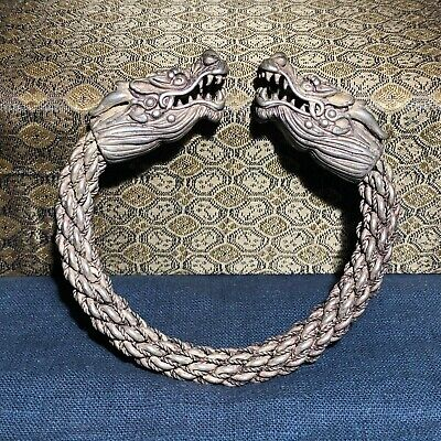 Chinese Collectible Old Tibet Silver Handwork Vintage Double Dragon Bracelet