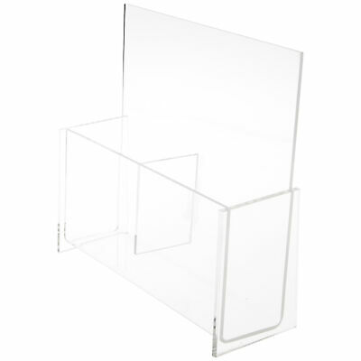 """Plymor Acrylic 2-Pocket Brochure Holder (Countertop), Fits 4"""" Items (3 Pack)"""