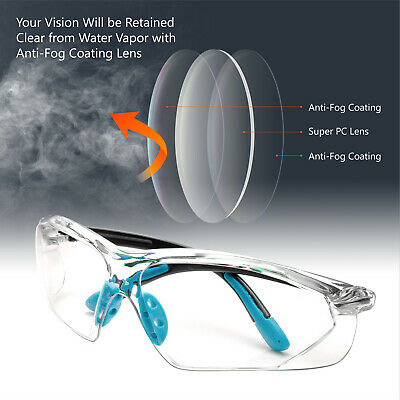Safeyear Safety Glasses Soft Tips Frameless Clear Anti-fog Anti-UV Lens Z87+