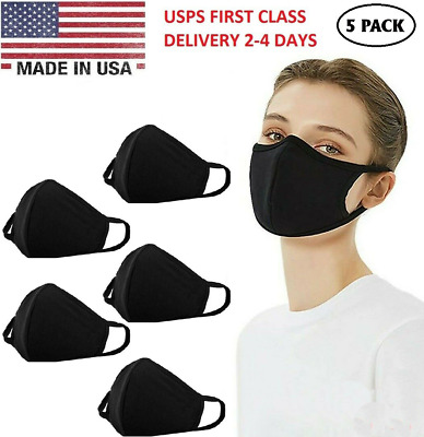 5 Pack Mouth Cover, Washable Reusable Cotton Face Mask Soft Black - Made In USA