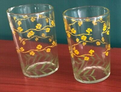 Yellow Dogwood Floral Vine Vintage Juice Drinking Glass - Set Of 2