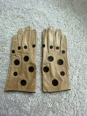 Pierre Cardin Light-Brown Soft Leather Gloves Ladies XS. Pre -owned.