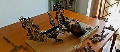 Stunning Antique 19Th Century Cast Iron Rise And Fall Ceiling Oil Lamp Holder