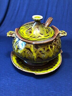 Vintage Mid Century Handmade Cal Original Green Brown Ceramic Soup Tureen, Ladle