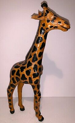 """Vintage Leather Wrapped Giraffe Large Statue Decor Figure 15"""" Tall"""