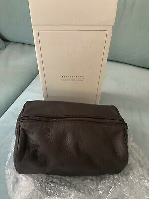 BRAND NEW Pottery Barn Mens Colby Leather Toiletry Case With Original Box / Tags