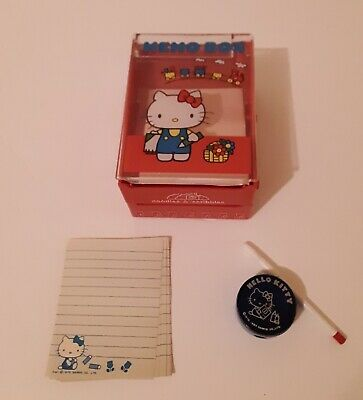 Sanrio Hello Kitty Red Memo Box Doodles & Scribbles 1976 Japan Note Paper