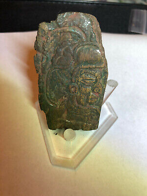 "Authentic Jade Pre Columbian Mayan Pendant Carved Pendant  Effigy  2.65"" x 1.5"""