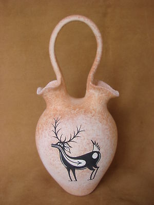 Native American Handmade Clay Deer Wedding Vase by Tony Lorenzo! Zuni Pueblo