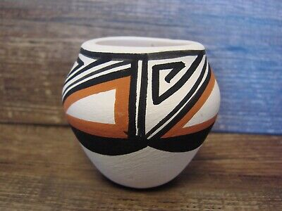 Small Acoma Indian Pottery Hand Painted Seed Pot by Concho