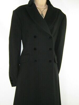 Laura Ashley Vintage Black Wool Velvet Collar Victorian Style Riding Coat,14