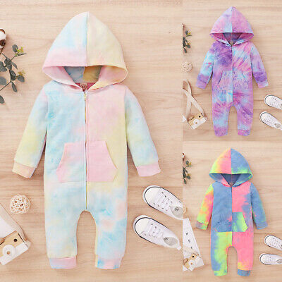 Newborn Infant Baby Boys Girls Dinosaur Hooded Romper Jumpsuit Clothes Outfit VT