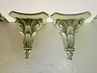 Classical Leaf Shelf Acanthus Wall Corbel Sconce Bracket Pair