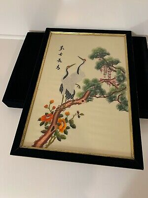 Silk Embroidery Framed Art Picture Painting Storks Cranes Birds Japanese/Chinese