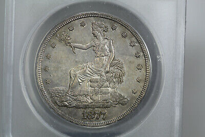 1877-S Trade Dollar ANACS AU-58 Cleaned 08HJ