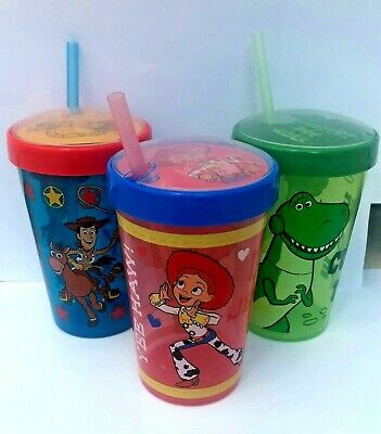 Official Disney Pixar Toy Story Drinking Cup With Straw Woody/Jessie/Rex