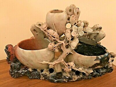"""Antique Chinese Carved Soapstone Floral Sculpture (10.5"""" Wide)"""