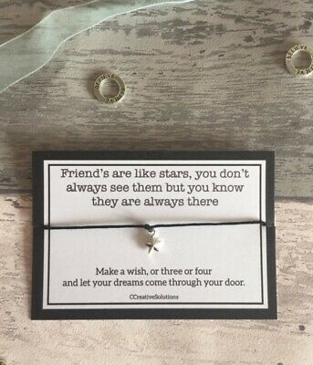 Wish Bracelet Card String Charm Friends are Like Stars Friendship Inspirational