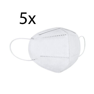 One Size KN95 Face Mask, Protective Mask Against Dust, Bacteria, Pack of 5