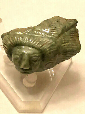 "Pre Columbian Face Effigy Pectoral/Pendant Jade 1.75"" X 1""  Authentic Mayan"