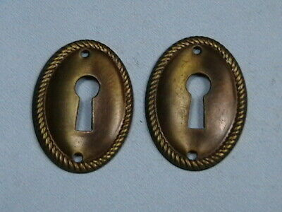 PAIR OVAL Vintage Escutcheons Brass Key Hole Covers Cabinet Furniture Hardware