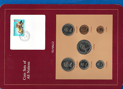 Coin Sets of All Nations Tuvalu w/card 1985 UNC $1,50,20,10,5,2,1 cents