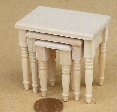 1:12 Scale Unpainted Small Wooden Butchers Table And Cleaver Tumdee Dolls House