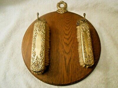Antique Vintage Victorian Decorative Clothes Brushes Wall Hanging on Wood