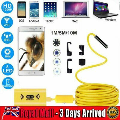1200P HD 8LED Endoscope Borescope Inspection Wifi Camera IP68 For Android iOS UK