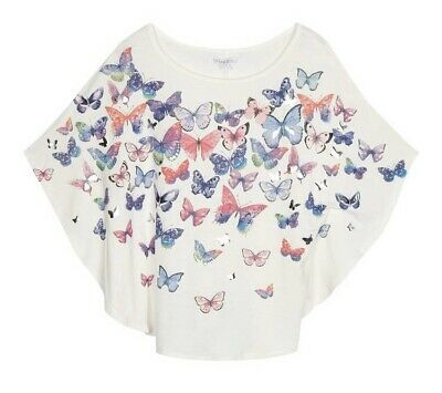 Girls Top Tee Bluezoo Jersey Butterfly Print Cape White Top Age 12-13 DE31 NEW