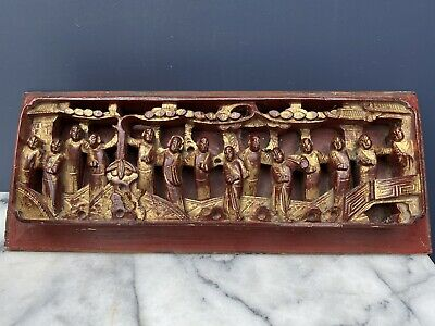 Antique Chinese Diorama Carved Wooden Panel
