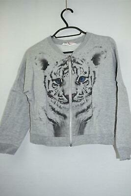 H&M Baby Girls Grey Cotton Zip Up Jumper With Cat Print Long Sleeve 8 Years Old