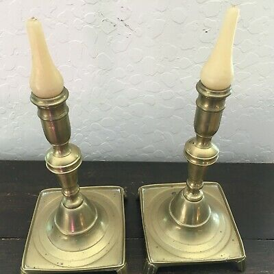Exceptional Early 18th Century Spanish Brass Candlesticks Pair, MB102