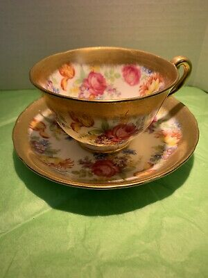 Royal Chelsea Lovely Tea cup And Saucer Heavy Gold Floral 4152A