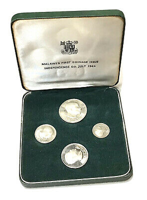 Vintage 1964 Malawi 4 Coin Proof Set Malawi's First Coinage Issue Currency Case