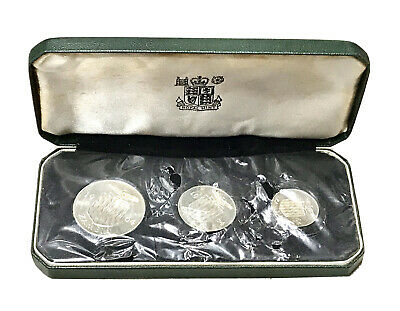 Vintage 1964 Bank Of Zambia 3-coin Silver Proof Set Royal Mint Presentation Case