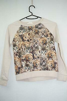 H & M Baby Girls White Cotton Long Sleeved Top With Cat Print Pullover 6 Years