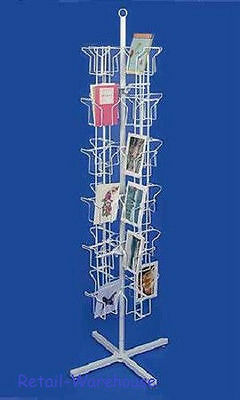 """Greeting Card Rack Spins 48 Pocket White Retail Display 5"""" x 7 Cards Sign Holder"""