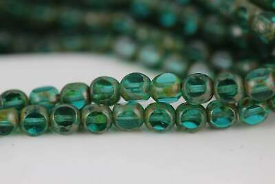 Picasso 25 6 mm Czech Glass Antique Style Triangle Beads Teal