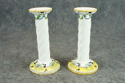 Pair Of Ceramic Candle Holders Hand-Painted Made In Portugal