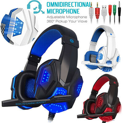 EACH G2000 3.5mm Gaming Headset Mic LED Headphones For PC MAC PS4 Xbox ONE 2020