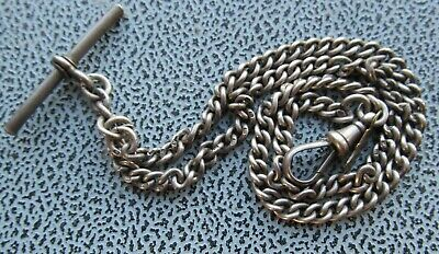 Vintage silver pocket watch chain, double Albert silver T bar, and silver claw.