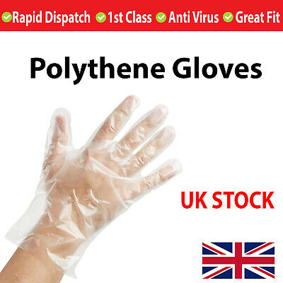 100 x Plastic Disposable GLOVES HIGH QUALITY POLYTHENE Protective Catering - UK