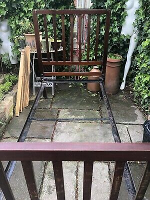 Antique Mahogany And Iron Edwardian Bedstead